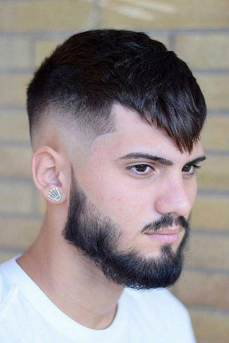 Angular Fringe Haircut Clean Beard Style #menhairstyles #hairstyles