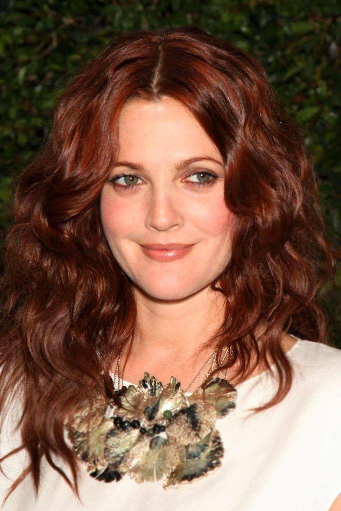 Deep Burgundy Hair For Drew Barrymore #burgundyhair #waves