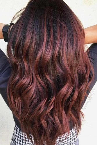 Burgundy Highlights On Black Hair