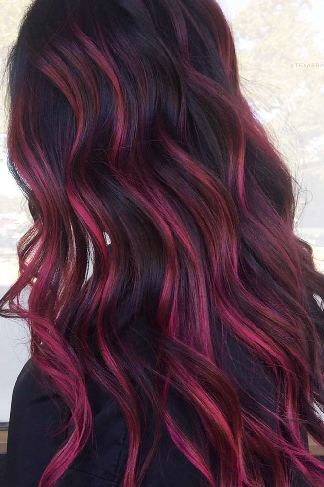 Burgundy Highlights #burgundyhair #haircolor