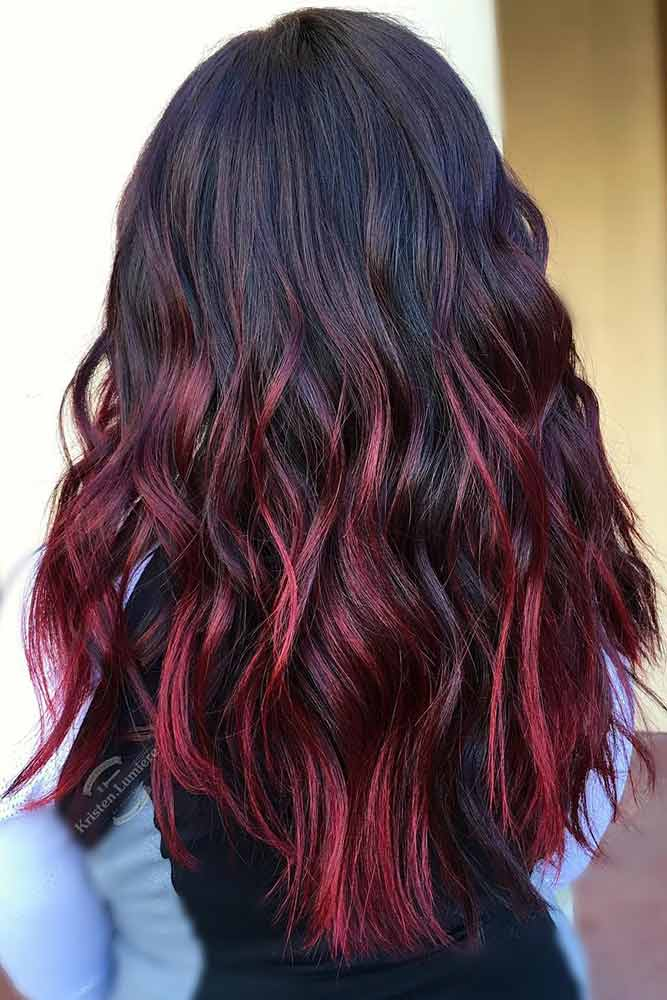 Burgundy and Black Ombre