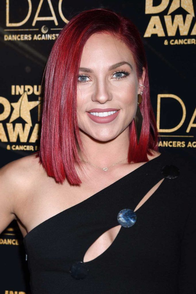 Sharna Burgess with Burgundy Long Bob #burgundyhair #longbob
