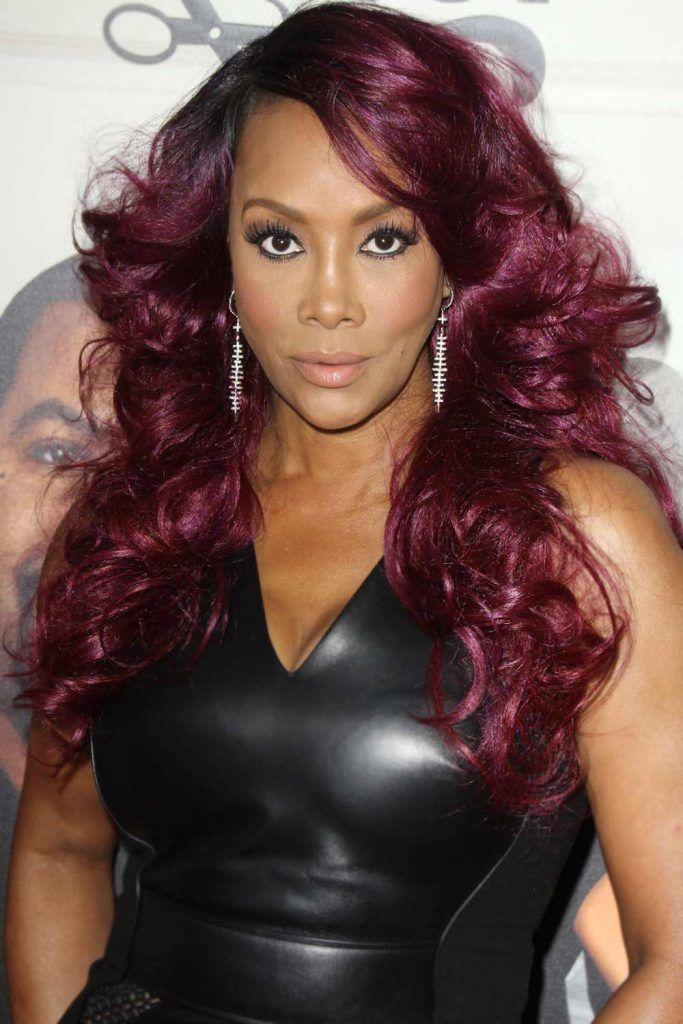 Vivica A. Fox With Purple Burgundy Hair Color #burgundyhair #purplehair