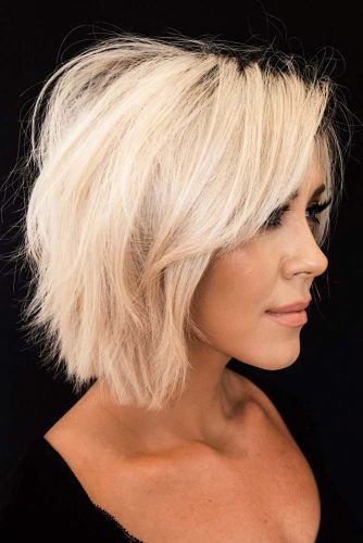 Side Swept Fringe For Straight Bob Hairstyle #longbangs #hairstyles