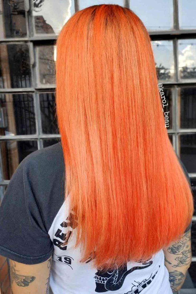 Passion blorange hair on long straight hair