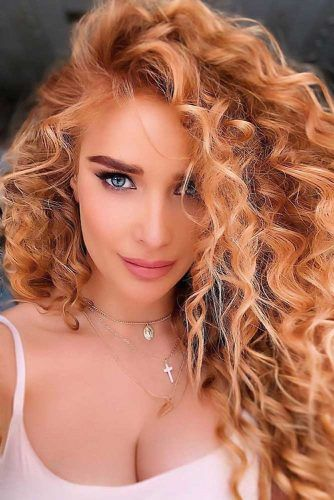 Golden Peach Curls #peachhair