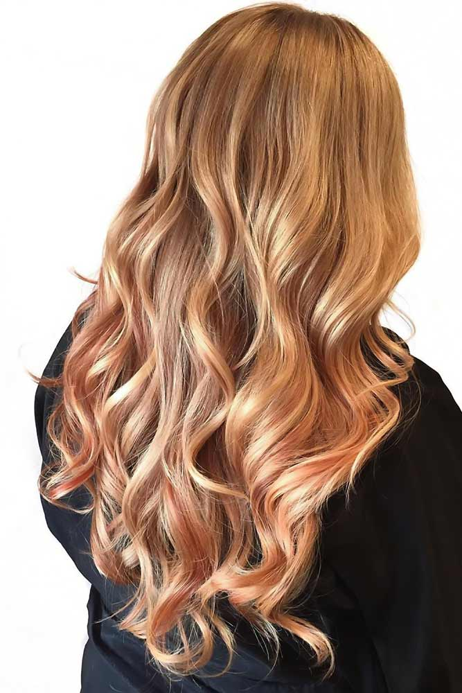 Golden Peach Waves #peachhair