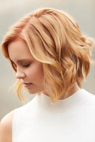 Golden Peach Bob #peachhair