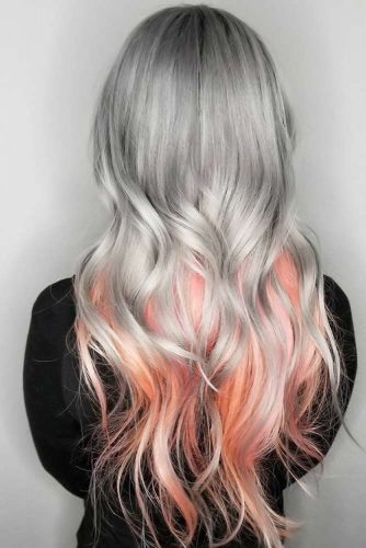 Light Peachy Ombre Looks Grey #peachhair