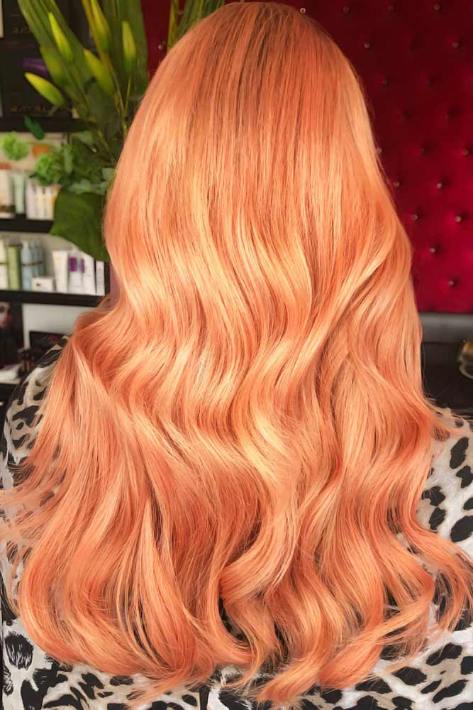 All Over Peach Shades Long #peachhair
