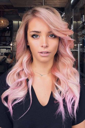 Peach Rose Gold Ombre #ombrehair #peachhair #hairhighlights