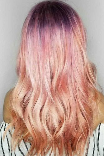 Light Peachy Ombre Looks Purple #peachhair