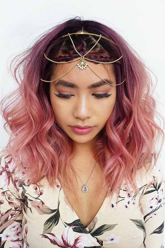 Purple To Rose Gold Ombre #ombrehair #rosegold #peachhair