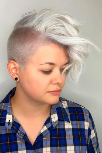 Curly Platinum Blonde Mohawk