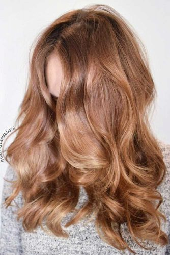 Dark Strawberry Blonde Balayage #strawberryblonde #blondebalayage #caramelbrown
