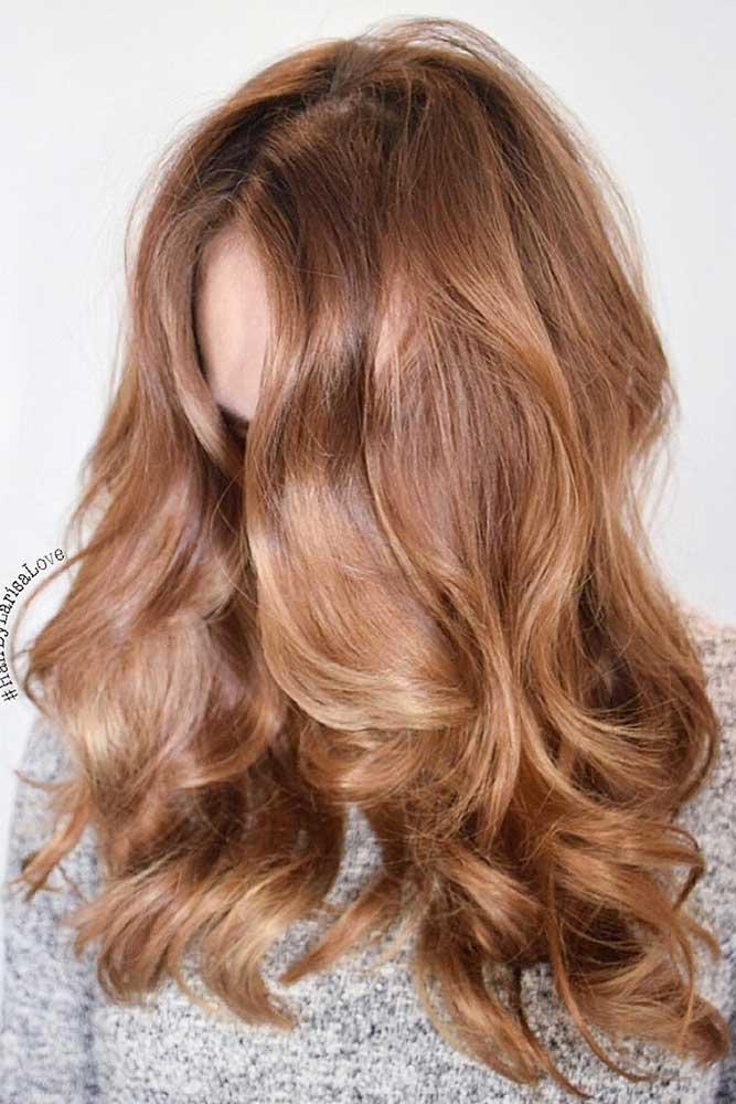 Dark Strawberry Blonde Balayage #strawberryblonde #blondebalayage #caramelbrown