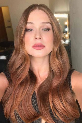 Strawberry Blonde Highlights On Light Brown Hair #strawberryblonde #caramelbrown #brownhair