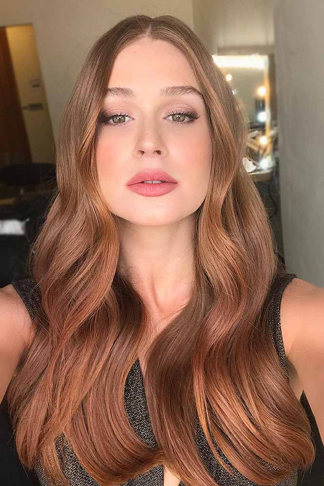 Strawberry Blonde Highlights On Light Brown Hair #strawberryblonde #caramelbrown #brownhair
