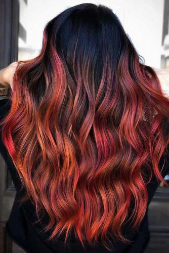 Black & Dark Red Fiery #blackhair #ombre