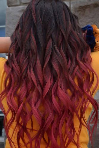 Black & Dark Red Long #blackhair #ombre