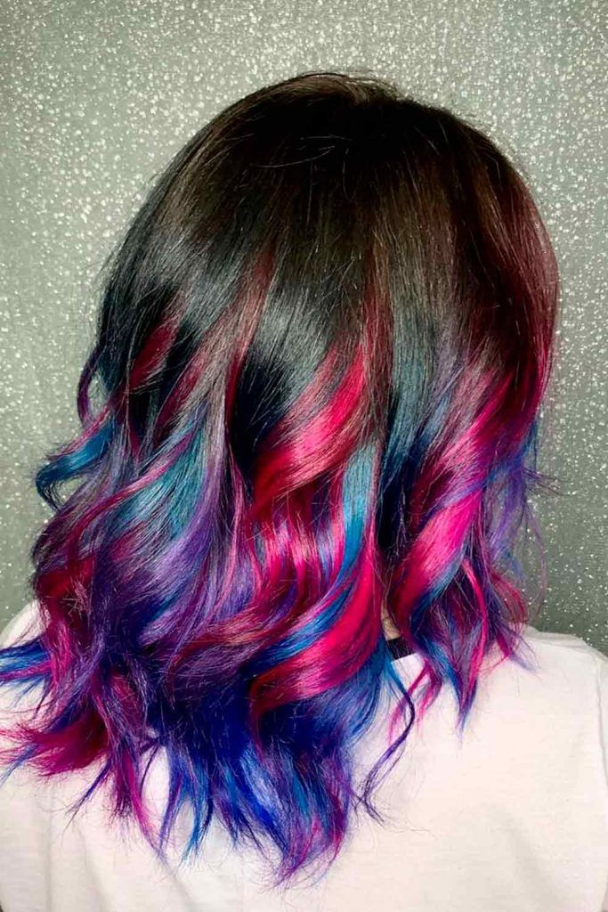 Black Hair With Blue And Pink Highlights