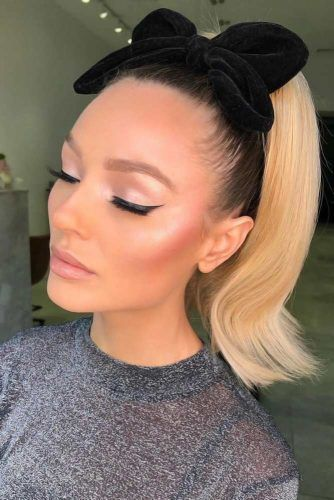 Simple Sleek Ponytails Bow #updo