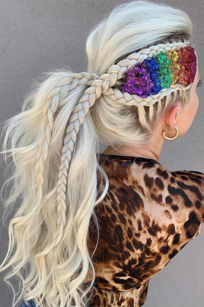 Double Braids Styles Rainbow #braids