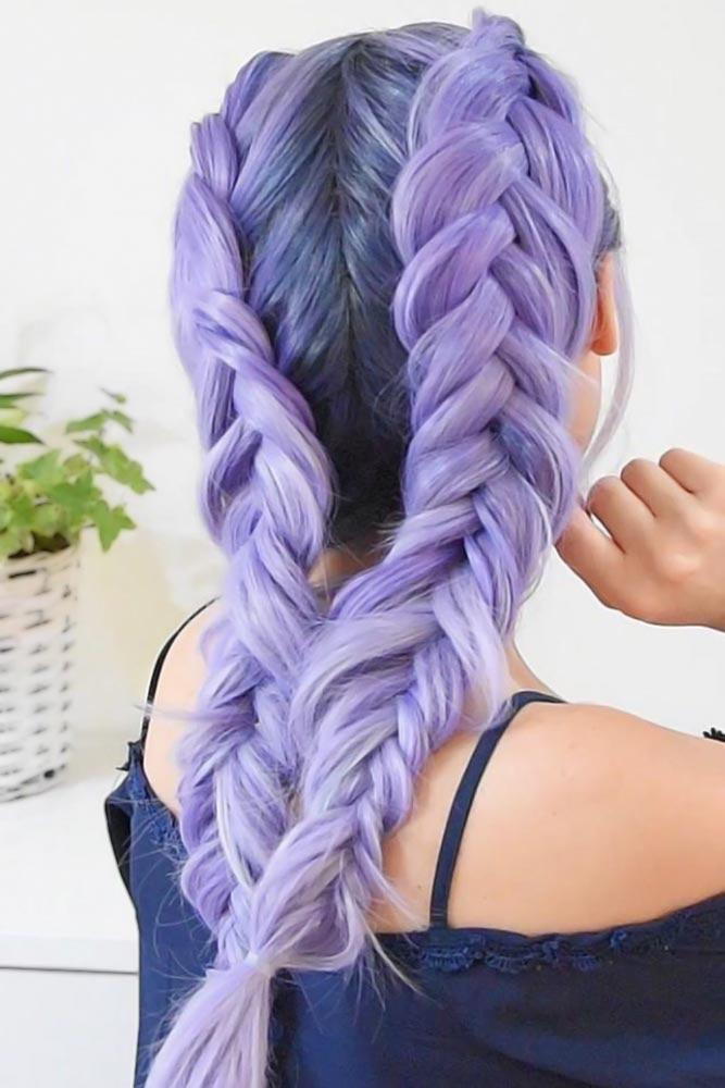 Double Braids Styles Purple #braids