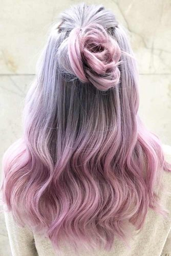 Cool And Warm Shades Of Lilac Ombre Hair #purplehair #pinkhair #ombre #halfup