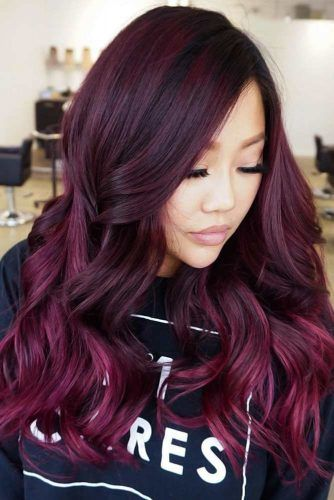 Deep Lilac On Brunette #chocolatelilachair #lilachair