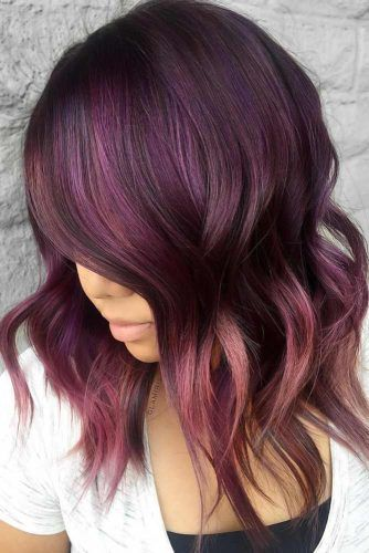 Dark Purple Chocolate Lilac Balayage #chocolatelilachair #lilachair