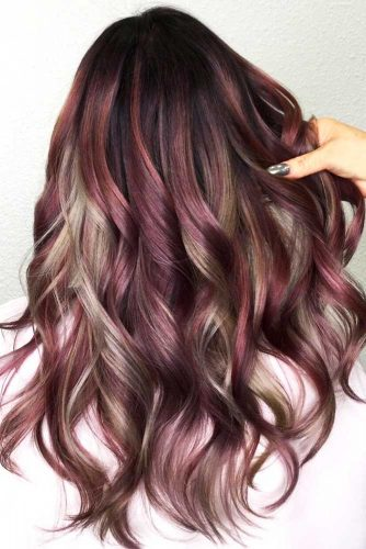 Chocolate Lilac And Grey Highlights #purplehair #highlights