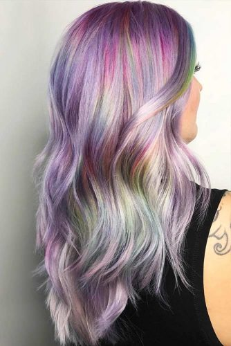 Pastel Lilac Hair Rainbow #pinkhair #highlights