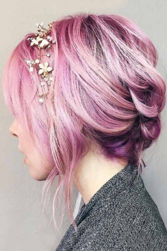 Pink and Lilac Color Hair #pinkhair #updo