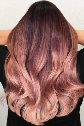 Chocolate Lilac To Rose Gold Ombre #rosegoldhair #ombre