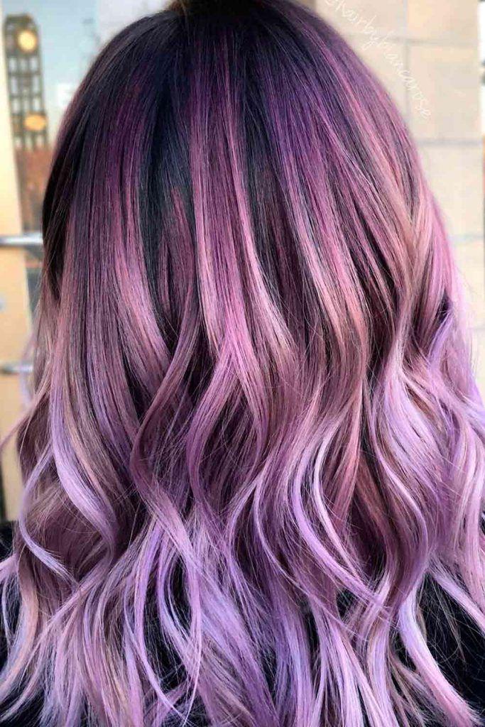 Shiny Dark Lilac Hair