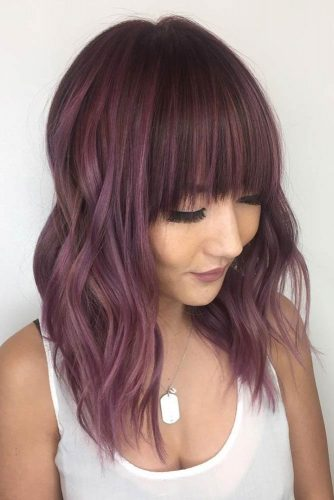 Shoulder Lenght Hair in Chocolate Lilac Color picture1
