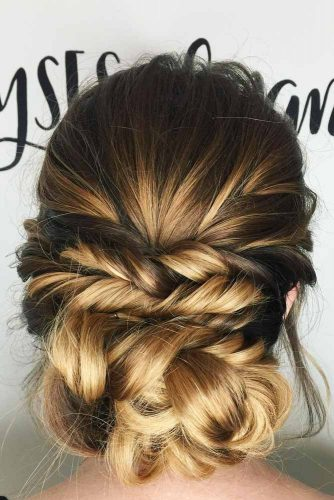 Subtle Low Updo With Fishtail Braid #homecominghairstyles #homecoming #hairstyles #braids #updohairstyles