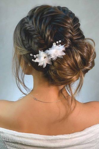 Fishtail Braids Into Low Messy Bun #homecominghairstyles