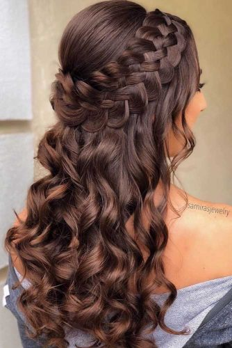 Half Up Half Down Homecoming Hairstyle #homecominghairstyles #homecoming #hairstyles #braids #longhair