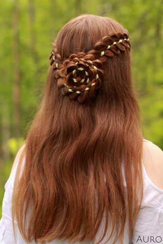 Four Strand Ribbon Braided Flower #homecominghairstyles #homecoming #hairstyles #braids #longhair