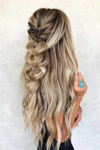 Twisted Half Updo With Braids #homecominghairstyles #homecoming #hairstyles #braids #longhair