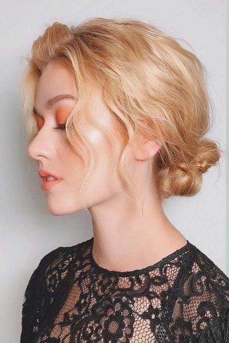 Buns With Long Bangs Wavy #updo
