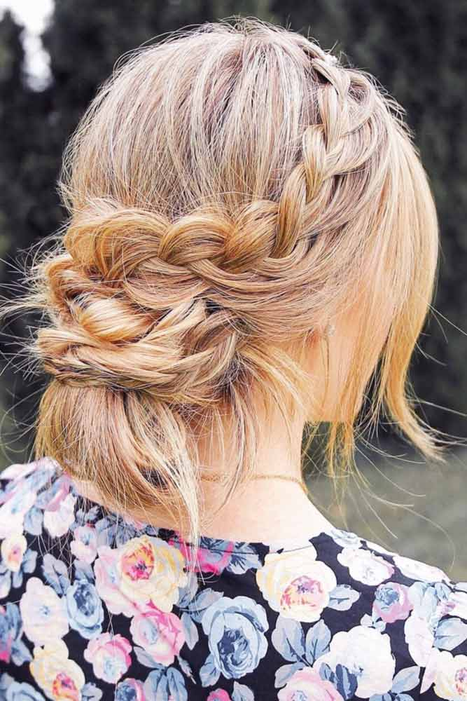 Low Messy Updos French Braid #braids #updo