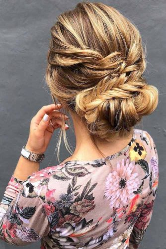 Braids Into Low Bun Updos Twist #updo #braids #bun