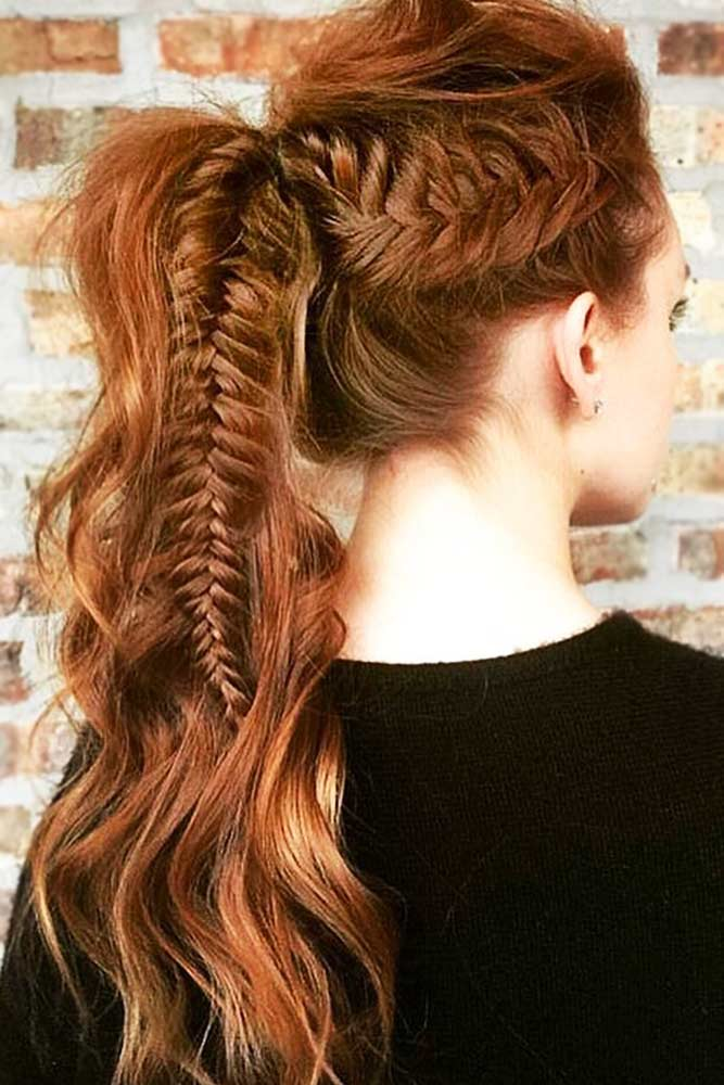 Cool Braided Ponytails Fishtail #braids #ponytail