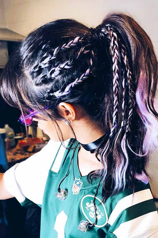 Cool Braided Ponytails Triple Braids #braids #ponytail