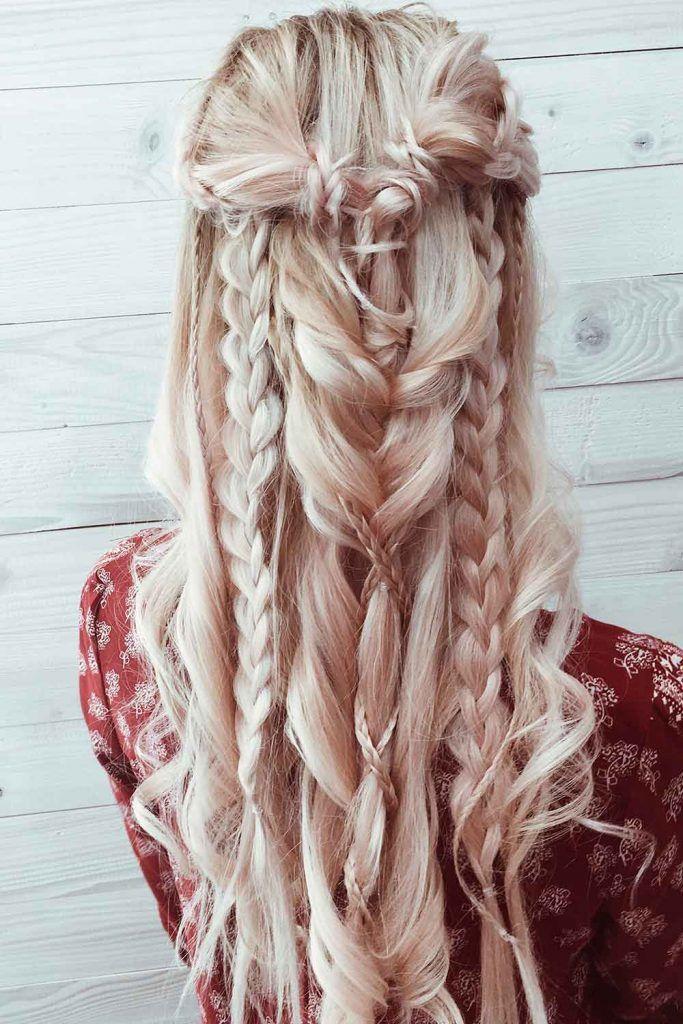 Bohemian Half-Up Half-Down Hairdo #bohohairstyles #bohemianhairstyles