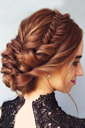 Cute Fishtail Braided Updo Bun #braids #bun