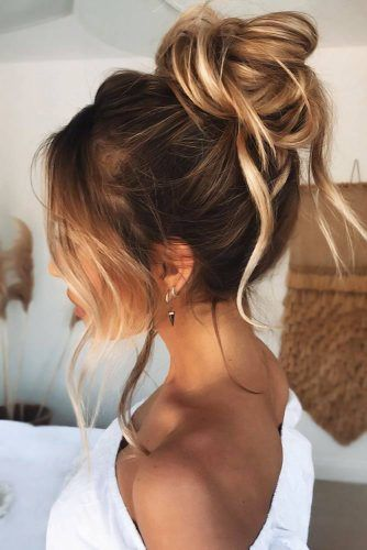 Buns With Long Bangs High #updo